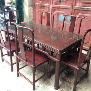 Bộ bàn ghế ăn gỗ hương 6 ghế