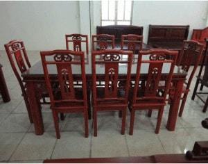 Bộ bàn ăn nối tàu 8 ghế gỗ hương