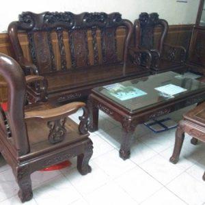 Bộ bàn ghế quốc đào gỗ tay 10 hàng 6 món