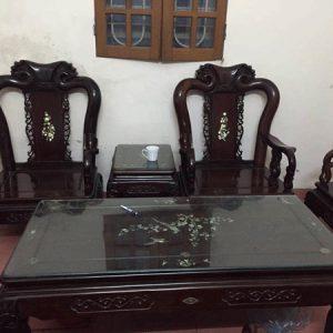 Bộ bàn ghế quốc đào tay 8 hàng 8 món gỗ trắc